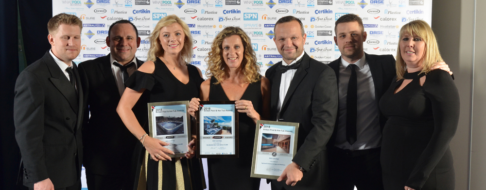H2O Swimming Pools & Hot Tubs win awards at 2018 annual British Pool & Hot Tub Awards